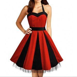 VINTAGE Style Halter Red & Black Polka Dot Dress